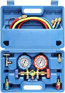 Orion Motor Tech 3 Way AC Diagnostic Manifold Gauge Set for Freon Charging, Fits R134A R12 R22 and R502 Refrigerants, with 3FT Hose, Acme Tank Adapters, Quick Couplers and Can Tap