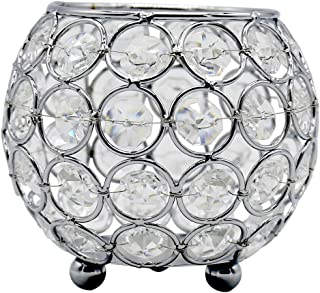 Joynest Crystal Tea Light Candle Lantern Holders, Wedding Coffee Table Decorative Centerpieces for Home Décor Party Mothers Day Birthday House Gifts (4'', Silver)