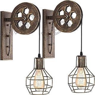 iDEGU Applique Murale Industrielle, Lampe Murale Vintage Style Poulie Rétro E27 Luminaire en Bois et Fer Lampe Supension p...