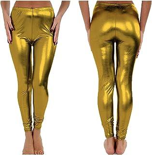 e0ee834f7dec7c RSVH WFL Woman Ladies Dance Foil Shiny Plain Metallic Hot Wet Look Party  Leggings