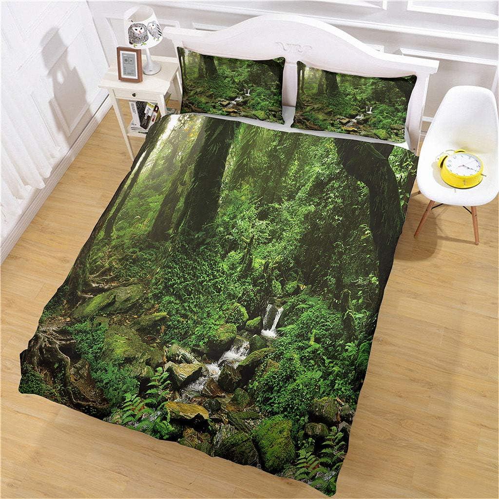 SNJIVU Popular overseas Duvet Covers King Size Green Ranking TOP7 Print Rainforest Tropical 3D