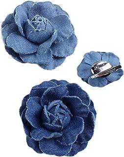 Woman Denim Brooch Flower Girls Blue Jeans Hair Clip Lady Hairgrips HairPin JW02