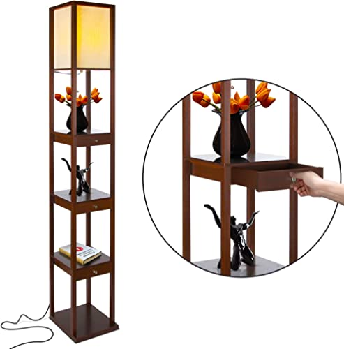 Brightech Maxwell Drawer Edition - Shelf & LED Floor Lamp Combination - Narrow Nightstand with Light Attached - Tower...