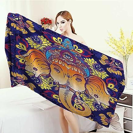 Print fancy towels Elephants Decor Collection Statue Antique Asian Decorating Vibrant Colors Ceremony Illustration Image Customized