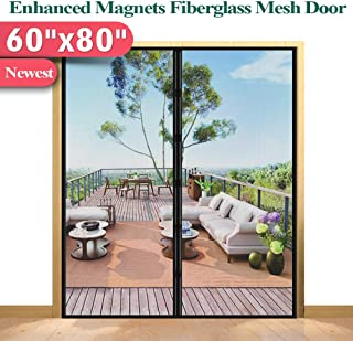 Mkicesky [Upgrade Version] Fiberglass Screen Curtain, Double Patio Mesh Cover for French/Sliding Full Frame Hook&Loop Fit Door Up to 58