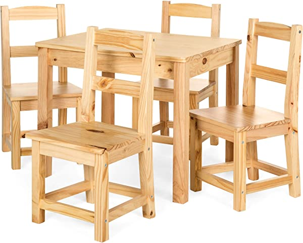 Best Choice Products 5 Piece Kids Multipurpose Wooden Activity Table Furniture Set For Bedroom Play Room W 4 Chairs