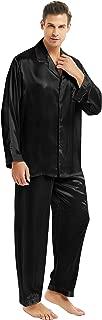Mens Satin Long Button-Down Pajamas Set, S M L XL 2XL 3XL 4XL