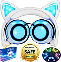 AMENON Kids Headphones for Girls Boys Toddler, Cat Ear Headphones with Lights Up Foldable Wired Over/On Ear Game Headsets for School Travel, Musical Audio