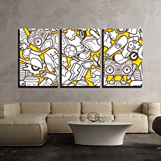 wall26 - 3 Piece Canvas Wall Art - Vector - Graffiti Seamless Pattern with Urban Lifestyle Line Icons - Modern Home Decor Stretched and Framed Ready to Hang - 24