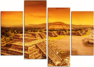 Live Art Decor- 4 Pieces Canvas Painting Wall Art Pyramids Of The Sun And Moon On The Avenue Of The Dead,Ruins Of Aztec Civilization,Mexico Architecture Ruin Print On Canvas Giclee Artwork