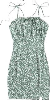SheIn Women's Floral Ruched Mini Dress Tie Shoulder Sleeveless Split Short Dresses