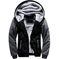 GEEK LIGHTING Men's Zip Up Fleece Hoodies Winter Heavyweight Sherpa Lined Thermal Jackets