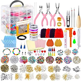 PP OPOUNT Deluxe Jewelry Making Supplies Kit with Instructions, Jewelry Beads, Charms, Findings, Jewelry Pliers, Beading W...