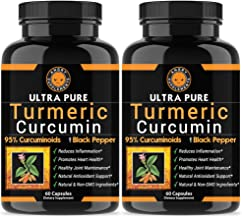 Angry Supplements Ultra Pure Turmeric Curcumin with BioPerine, Black Pepper Extract, 95% Curcuminoids, All Natural Powerful Antioxidant, Non-GMO, Joint Support, Heart Heath, Pain Relief (2-Pack)