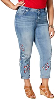 Plus Size Liberty Embroidered Boyfriend-Fit Ankle Jeans