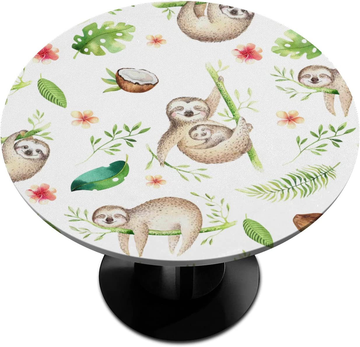 BOLOLI Animal Sloth Flower We OFFer at Max 67% OFF cheap prices Elastic Edged Round Fitted Tablecloth