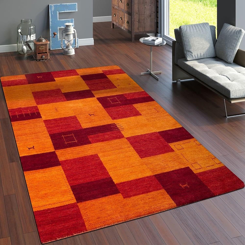 Paco Home Teppich Handgewebt Gabbeh Hochwertig Meliert 100% Wolle Kariert MultiFarbe, Grsse 80x150 cm