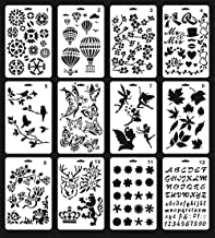 Plastic Stencils for Painting, 12Pcs Bullet Journaling Stencils, Includes Flower Stencils, Leaf Stencils, Butterfly Stencils & More Craft Stencils