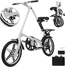 Happybuy Folding Bike 16 Inch Folding Bicycle A-Bike Folding Bikes for Adults Lightweight Foldable Bike White