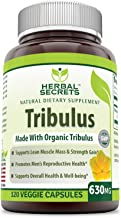 Herbal Secrets Tribulus 630 Mg 120 Veggie Capsules (Non-GMO) - Made with Organic Tribulus- Promotes Men's Reproductive Health, Supports Lean Muscle Mass & Strength Gain, Supports Overall Health*