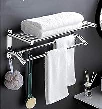 Handdoekenrek, handdoekrek met dubbele rij, roestvrijstalen wandgemonteerde handdoekstang, badkamerhanddoekenrek, zelfklev...