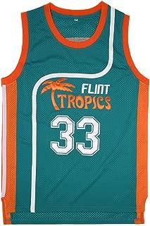 Wansi Mens 33 Flint Tropics Jackie Moon Basketball Jersey Green White
