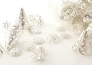 Sodacraft 20g Silver Plated Filigree Brass Bead Caps Mixed Assortment -Flower, Cone- Jewelry Making