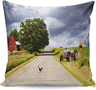 Throw Pillow Covers 18×18inch Soft and Skin Friendly Pillow Case Cushion Cover with Invisible Zipper-,Home Decor Pillowcase for Girls/Boys Room- Farm Tractor Warehouse Rooster