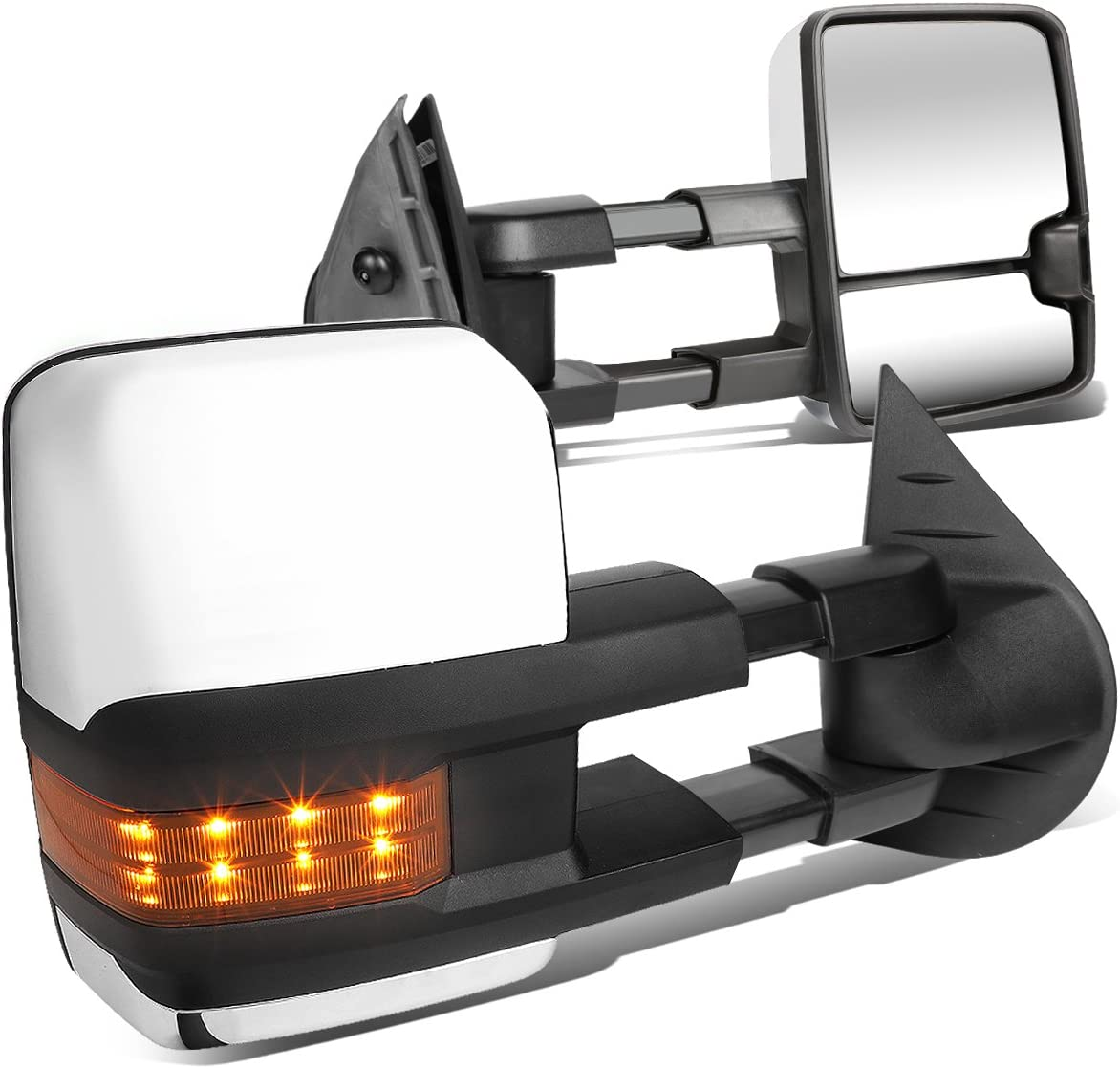 Raleigh Mall Pair Price reduction Chrome Manual Telescoping Amber Signal LED Lights Turn Towi