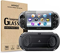 (4-بسته) محافظ صفحه نمایش برای سونی پلی استیشن ویتا 2000 با پوشش های پشتی ، محافظ صفحه جلویی شیشه ای Akwox 9H Tempered و فیلم محافظ صفحه نمایش پشتی HD Clear Crystal PET برای PS Vita PSV 2000
