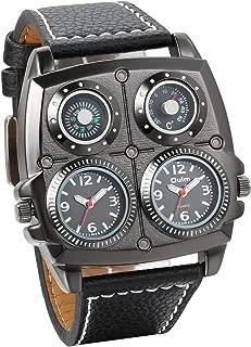 Jewelrywe Birthday Valentine Gift Mens Dual Time Zone Army Military Large Quartz Watch Black