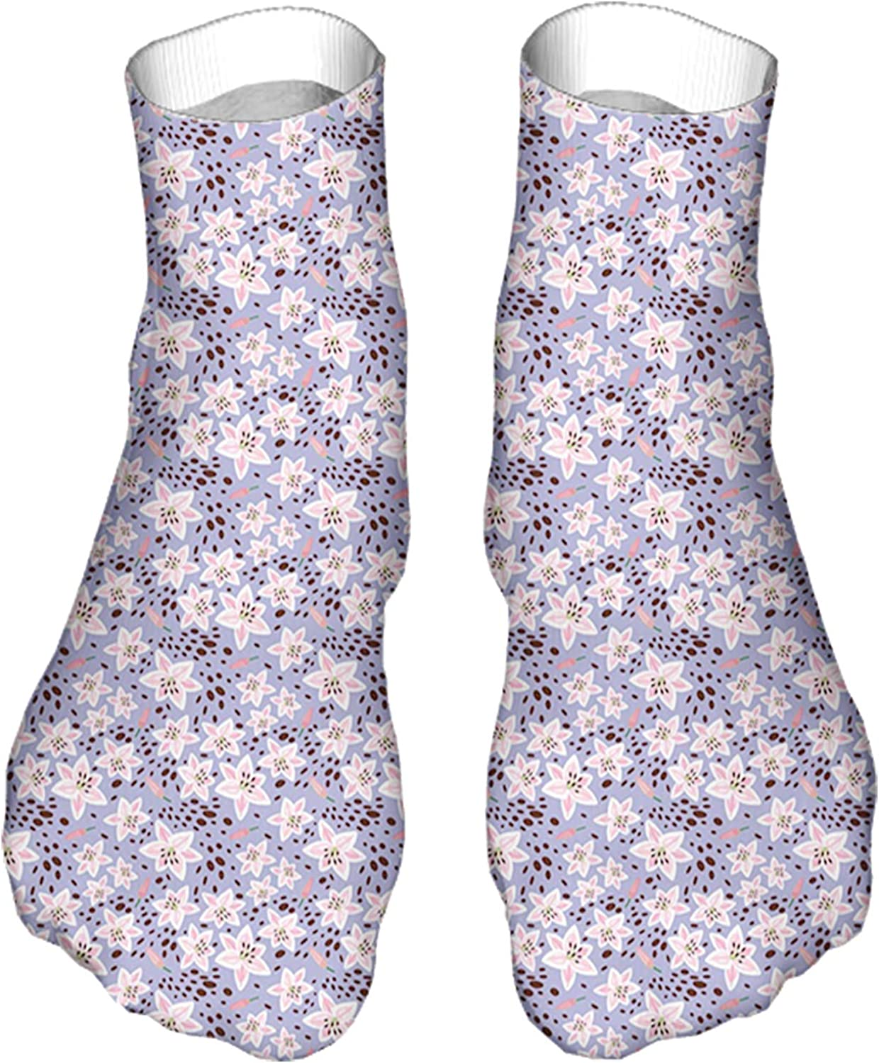 Men's and Women's Fun Socks Printed Cool Novelty Funny Socks,Continuous Pretty Pattern of Exotic Flower Petals and Buds