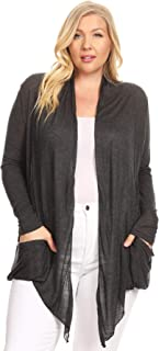 Ambiance Apparel Women's Long Sleeve Open Front Plus Size Cardigan with Shawl Collar