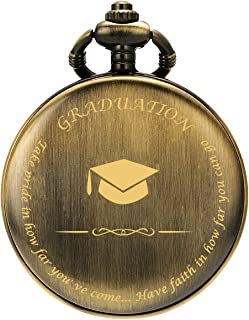 SIBOSUN Graduation for Him - Pocket Watch - Engraved Graduation– Perfect College/High School Graduation or for Son | Him | for Classmates