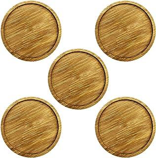 5 قطع من أطباق الخيزران، صينية مستديرة 3.2 بوصة مصنوعة من الخيزران الصحن النباتي للنباتات الداخلية والخارجية من يوهي