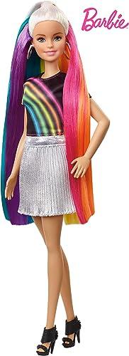 Barbie poupée Chevelure Arc-en-ciel Paillettes avec long cheveux colorés, peigne et accessoires inclus, jouet pour en...