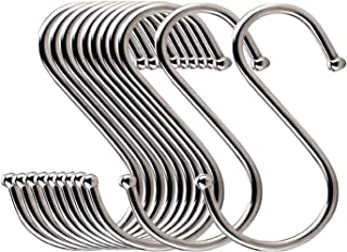 LOYMR 10 Pack 4.7 Inches Extra large S Shape hooks Heavy-duty Metal Hanging Hooks Apply Kitchenware Bathroom Utensils Plants Towels Gardening Multiple uses Tools