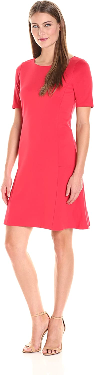 Ellen Tracy Womens Elbow Sleeve Flounce Dress