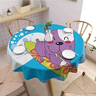 Luoiaax Ride The Wave 3D Printed Round Tablecloth Cute French Bulldog Surfing and Smiling Happy Adventure Exotic Dog Cartoon Desktop Protection pad D67 Inch Round Multicolor