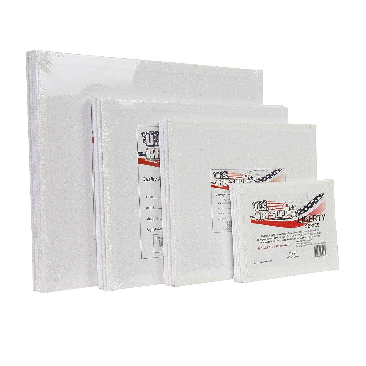 US Art Supply Multi-pack 6-Ea of 5 x 7, 8 x 10, 9 x 12, 11 x 14 inch. Professional Quality Medium Artist Canvas Panel Assortment Pack (24 Total Panels)
