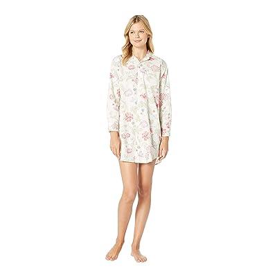 LAUREN Ralph Lauren Sateen Long Sleeve His Shirt Sleepshirt (Ivory Floral Print) Women