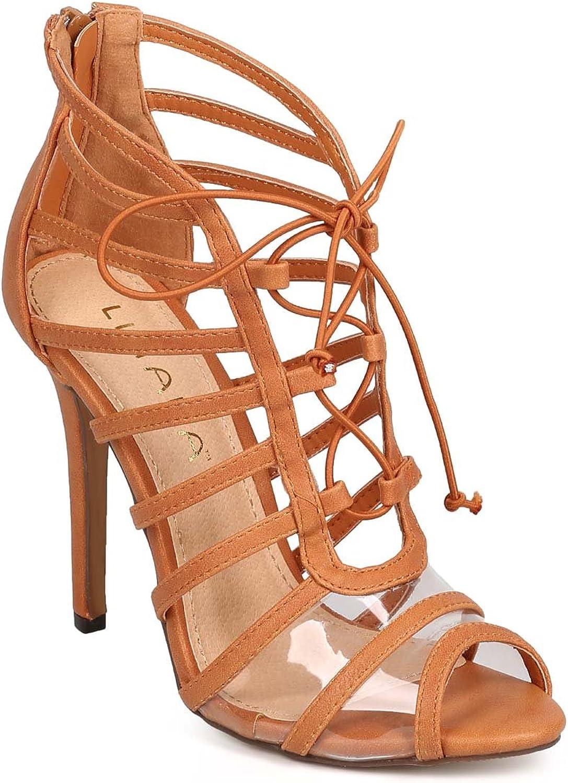 Liliana DH01 Women Leatherette Lucite Peep Toe Thin Strap Caged Stiletto Single Sole Sandal - Tan