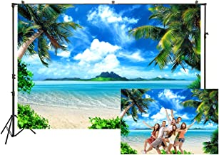 Clear Water Ocean Photography Background Natural Landscape Backdrop Beach Seaside Green Trees Backdrop Holiday Vacation Wedding Birthday Party Lovers Adults Backdrop Props 10x7ft Vinyl E00T10136
