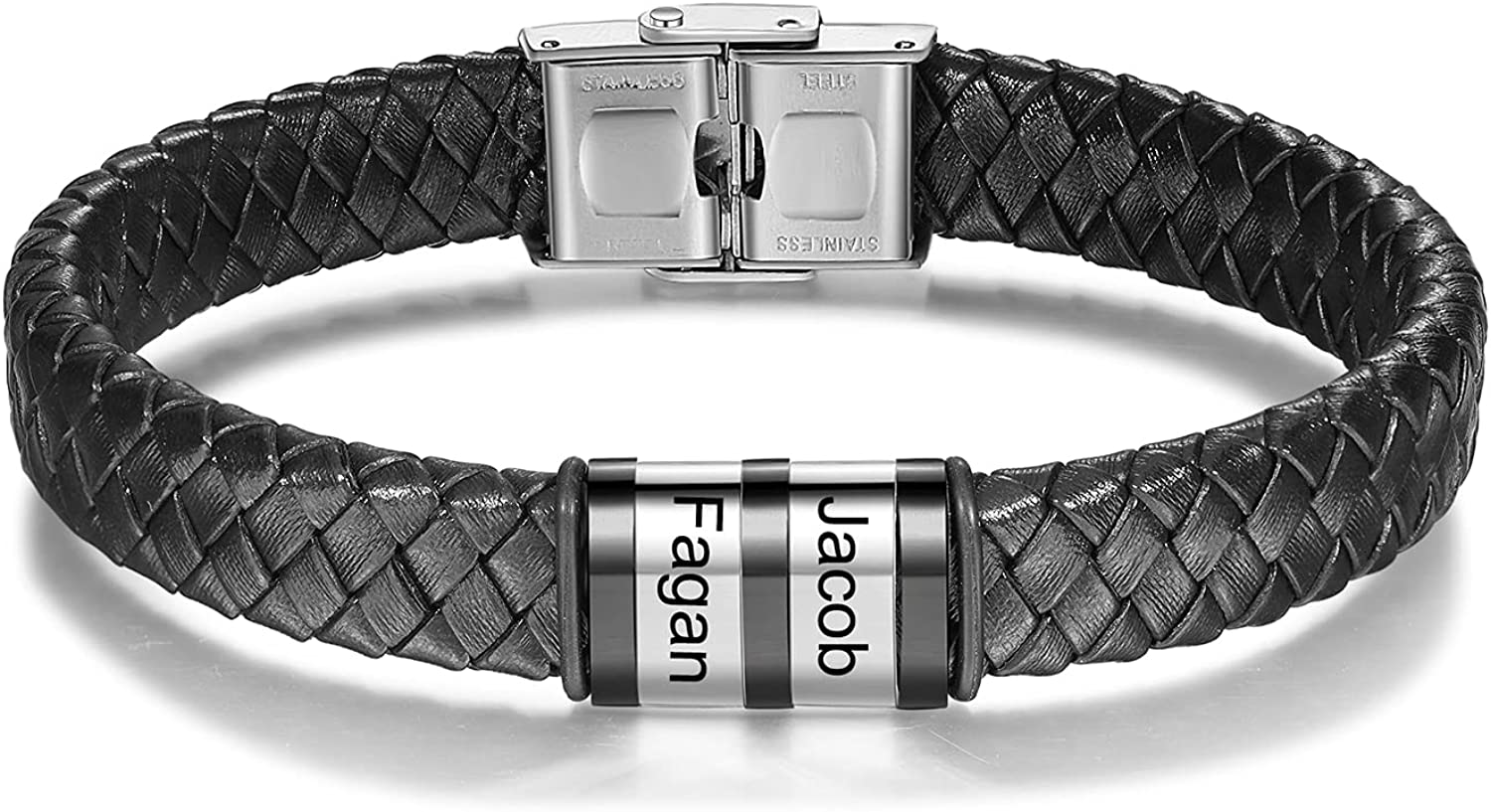 Personalized Mens Complete Free Shipping Omaha Mall Black Leather Bracelets Inc Engraving 8.2
