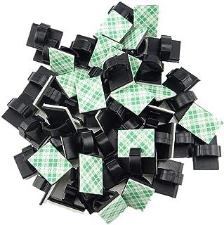 Flushbay 40個入り 配線テープ 車 壁 ケーブル固定具 粘着シート付 ケーブルクリップ 黒 ケーブル収納 コード管理