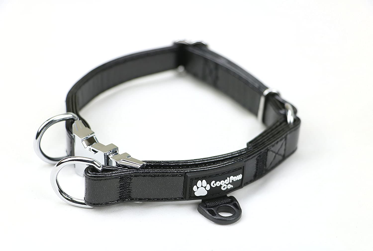Black Leather Dog Collars Holographic with Double D Rings (XS)