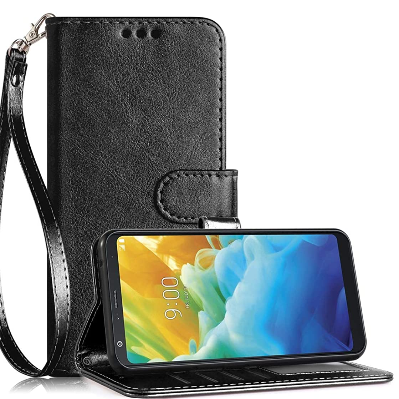 LG Stylo 5 Wallet Case,Kickstand Wrist Strap Anti-Scratch Card Holder Shockproof PU Leather Stylish Protective Phone Case-Black