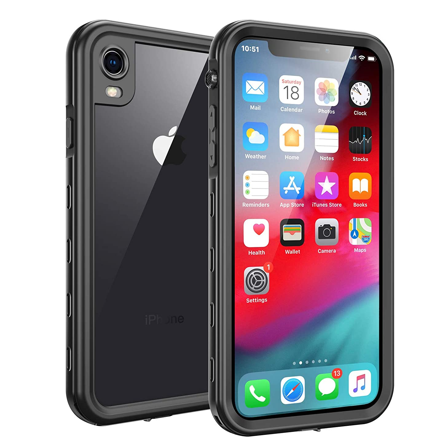 iPhone XR Waterproof Case, Fansteck IP68 Waterproof/Snowproof/Shockproof/Dirtproof, Full-Body Protective Case with Built-in Screen Protector (6.1-inch) (Black)