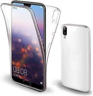Moozy 360 度手机壳 适用于华为 P20 - 全身正面和背面纤薄透明 TPU 硅胶盖
