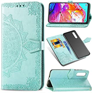 Samsung Galaxy A70 Leather case,Wallet and Case for Samsung Galaxy A70,Luckyandery PU Leather Case Wallet Book Folio with Card Holder Shockproof & Hand Strap Purse Cover for Samsung Galaxy A70,Green